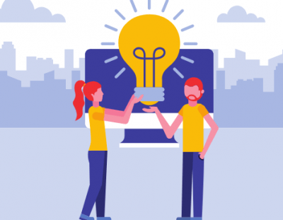 Two people holding a lightbulb