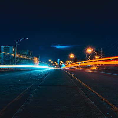highway view with red and blue lights