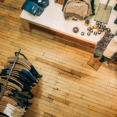 Aciron case study top view of clothing store