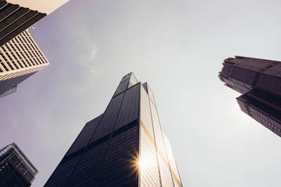 Aciron consulting sky scraper view from ground