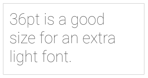 "Aciron ""36pt is a good size for an extra light font"""