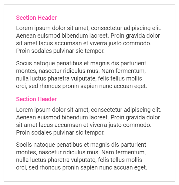 Aciron blog two paragraphs with pink text double spaced