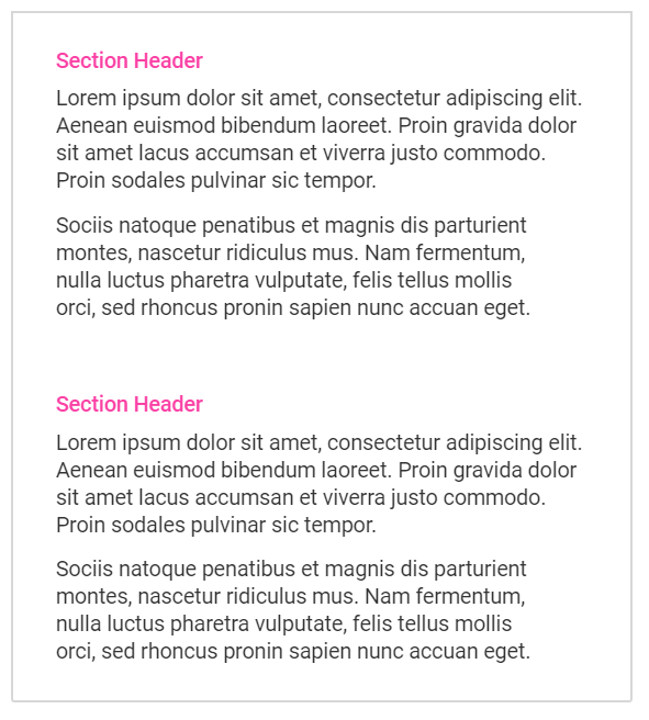 Aciron Consulting blog two paragraphs with pink headers