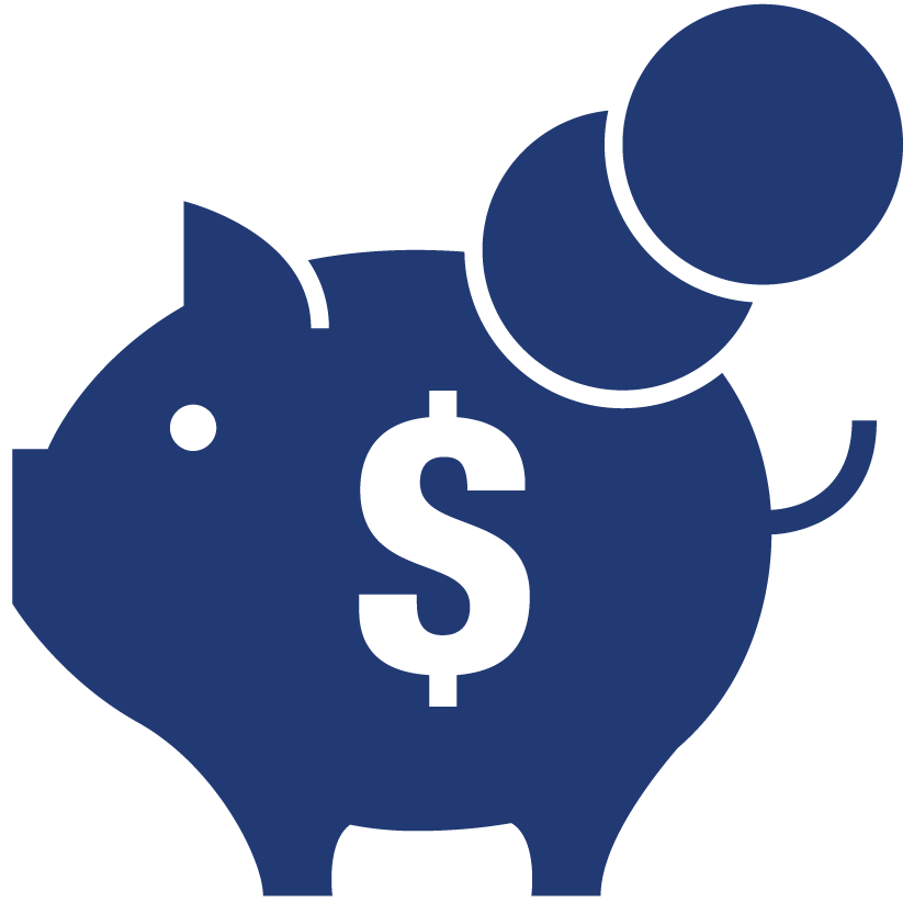 Aciron blue piggybank with money sign