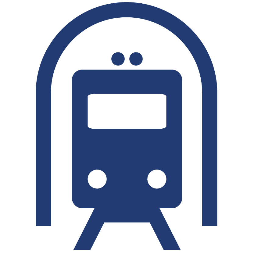 Aciron blue train coming out of tunnel icon