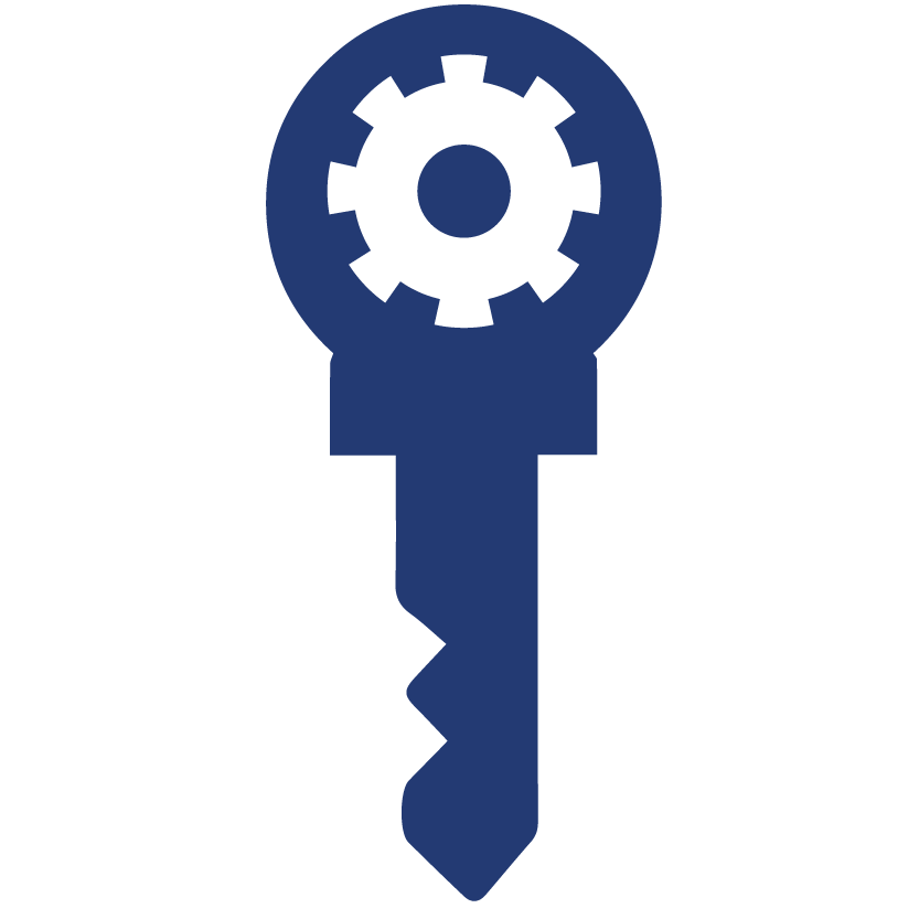 Aciron a key with a cog in the middle icon