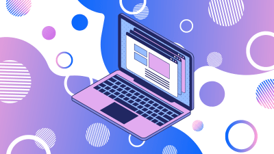 Colorful laptop with bubbles and gradient background