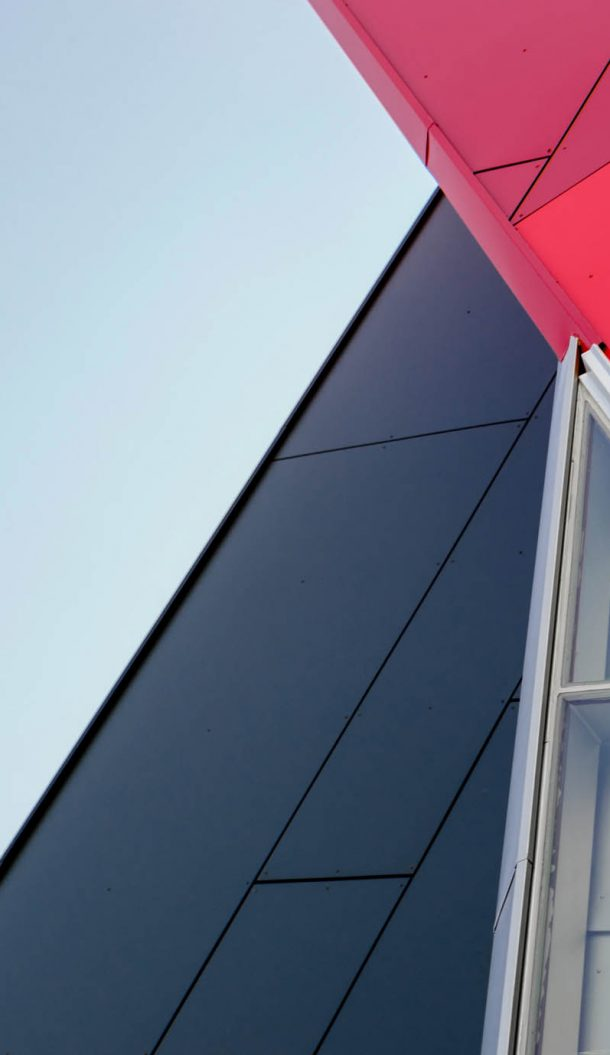 Aciron case study red and black glass windows